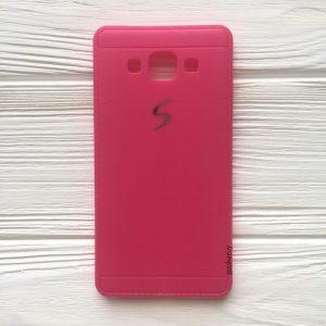Силиконовый (TPU) чехол (накладка) с логотипом для Samsung Galaxy A5 2015 (A500) (Pink)