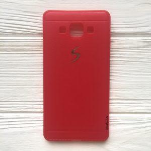 Красный силиконовый (TPU) чехол (накладка) с логотипом для Samsung А500 Galaxy А5 (2015) (Red)
