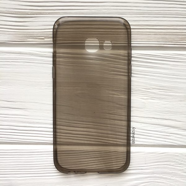 Серый прозрачный силиконовый (TPU) чехол (накладка) для Samsung A320 Galaxy A3 (2017) (Grey)