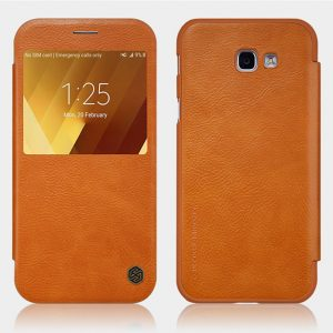 Коричневый кожаный чехол-книжка Nillkin Qin Series для Samsung A320 Galaxy A3 2017 (Brown)