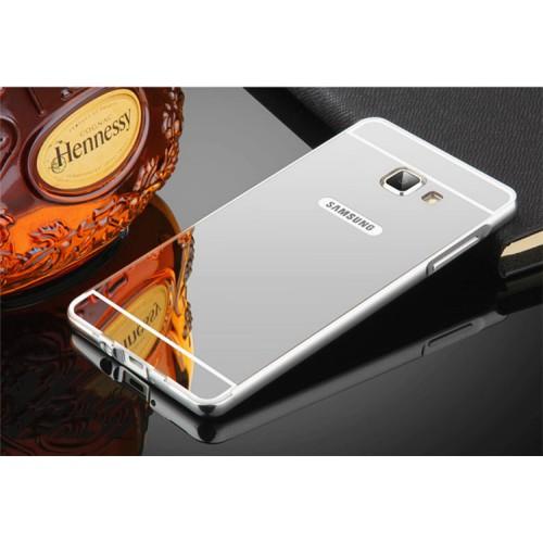 Серебряный алюминиевый чехол (бампер) с акриловой вставкой и зеркальным покрытием для Samsung A510 Galaxy A5 2016 (Silver)