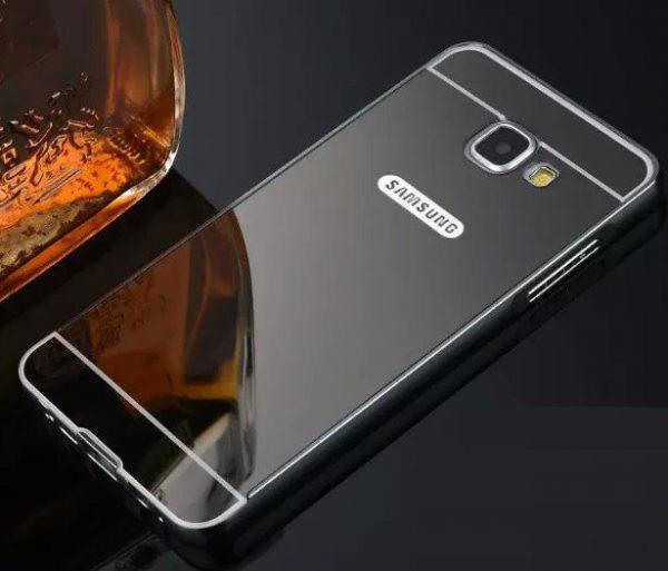 Серый алюминиевый чехол (бампер) с акриловой вставкой и зеркальным покрытием для Samsung A520 Galaxy A5 2017 (Grey)