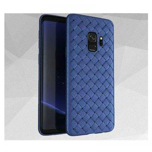 Силиконовый TPU чехол SKYQI плетеный под кожу для Samsung Galaxy A8 Plus 2018 (A730) – Темно -синий