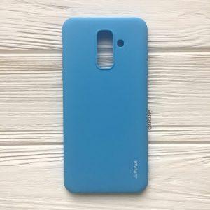 Матовый силиконовый TPU чехол на Samsung A605 Galaxy A6 Plus (2018) (Голубой)