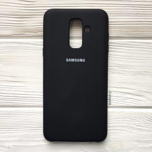Черный оригинальный матовый силиконовый (TPU) чехол Silicone Cover с микрофиброй для Samsung А605 Galaxy А6 Plus (2018) (Black)