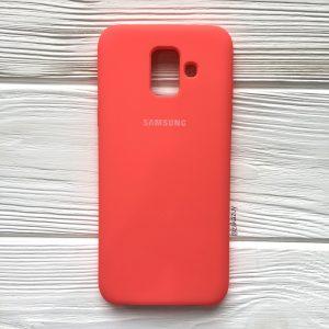 Кораловый оригинальный матовый силиконовый (TPU) чехол Silicone Cover с микрофиброй для Samsung А600 Galaxy А6 (2018) (Coral)