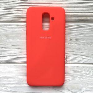 Кораловый оригинальный матовый силиконовый (TPU) чехол Silicone Cover с микрофиброй для Samsung А605 Galaxy А6 Plus (2018) (Coral)
