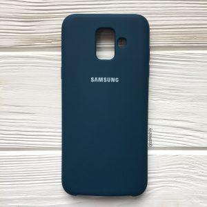 Изумрудный оригинальный матовый силиконовый (TPU) чехол Silicone Cover с микрофиброй для Samsung А600 Galaxy А6 (2018) (Dark Green)