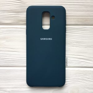 Изумрудный оригинальный матовый силиконовый (TPU) чехол Silicone Cover с микрофиброй для Samsung А605 Galaxy А6 Plus (2018) (Dark Green)