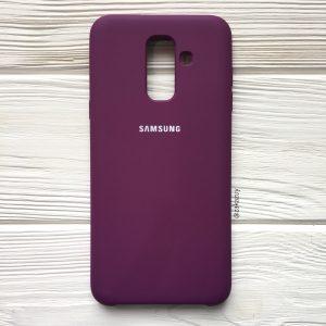 Баклажановый оригинальный матовый силиконовый (TPU) чехол Silicone Cover с микрофиброй для Samsung А605 Galaxy А6 Plus (2018) (Purple)