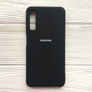 Оригинальный чехол Silicone Case с микрофиброй для Samsung A750 Galaxy A7 (2018) Черный