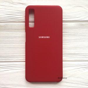 Красный оригинальный матовый силиконовый (TPU) чехол Silicone Cover с микрофиброй для Samsung А750 Galaxy А7 (2018) (Red)