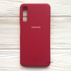 Малиновый оригинальный матовый силиконовый (TPU) чехол Silicone Cover с микрофиброй для Samsung А750 Galaxy А7 (2018) (Rose)