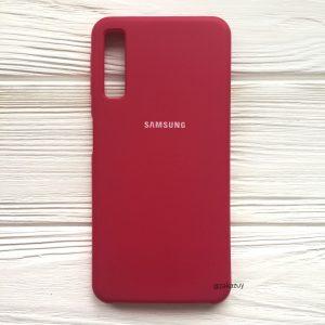 Оригинальный чехол Silicone Case с микрофиброй для Samsung A750 Galaxy A7 (2018) Малиновый