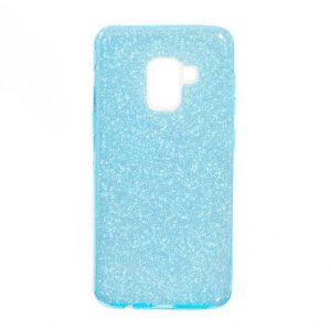 Силиконовый (TPU+PC) чехол Shine с блестками для Samsung A530 Galaxy A8 2018 (Голубой)