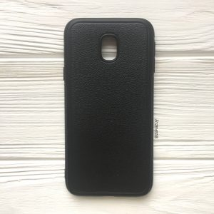 Черный силиконовый (TPU) чехол (накладка) с имитацией кожи для Samsung J330 Galaxy J3 (2017) (Black)