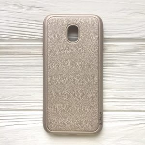 Золотой силиконовый (TPU) чехол (накладка) с имитацией кожи для Samsung J330 Galaxy J3 (2017) (Gold)