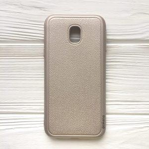 Силиконовый (TPU) чехол (накладка) с имитацией кожи для Samsung J330 Galaxy J3 (2017) (Gold)