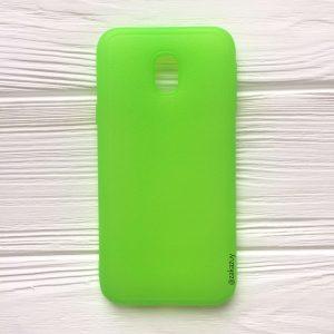 Салатовый силиконовый (TPU) чехол (накладка) с имитацией кожи для Samsung J330 Galaxy J3 (2017) (Green)