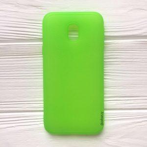 Силиконовый (TPU) чехол (накладка) с имитацией кожи для Samsung J330 Galaxy J3 (2017) (Green)