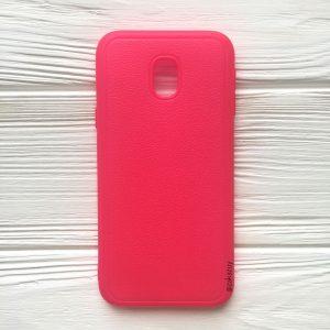 Розовый силиконовый (TPU) чехол (накладка) с имитацией кожи для Samsung J330 Galaxy J3 (2017) (Pink)