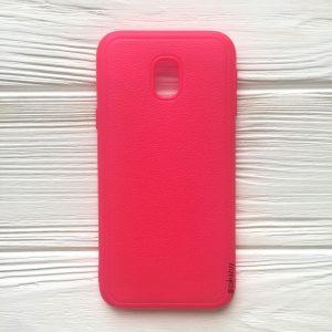 Силиконовый (TPU) чехол (накладка) с имитацией кожи для Samsung J330 Galaxy J3 (2017) (Pink)