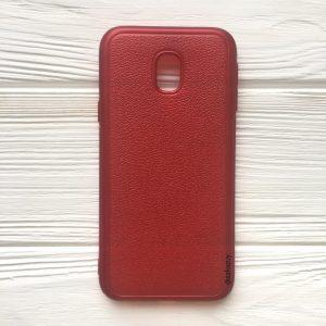 Красный силиконовый (TPU) чехол (накладка) с имитацией кожи для Samsung J330 Galaxy J3 (2017) (Red)