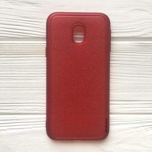 Силиконовый (TPU) чехол (накладка) с имитацией кожи для Samsung J330 Galaxy J3 (2017) (Red)