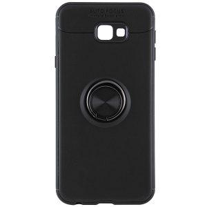 Черный силиконовый (TPU) чехол (бампер) ColorRing c кольцом и креплением под магнитный держатель для Samsung J415 Galaxy J4 Plus (Black)