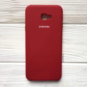 Оригинальный чехол Silicone Case с микрофиброй для Samsung J415 Galaxy J4 Plus (2018) (Бордовый)