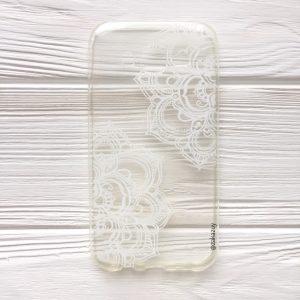 Прозрачный силиконовый (TPU) чехол (накладка) с белым узором для Samsung J500 Galaxy J5 (2015) (White)
