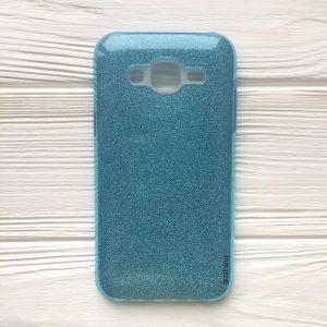 Силиконовый (TPU+PC) чехол Shine с блестками для Samsung J500 Galaxy J5 2015 (Голубой)