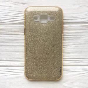 Силиконовый (TPU+PC) чехол Shine с блестками для Samsung J500 Galaxy J5 2015 (Cветло-золотой)