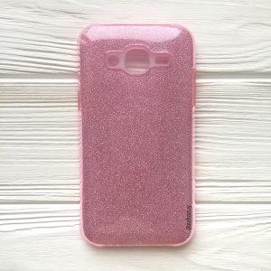 Розовый силиконовый (TPU+PC) чехол (накладка) Shine с блестками для Samsung J310 / J320 Galaxy J3 (2016) (Pink)