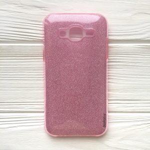 Силиконовый (TPU+PC) чехол Shine с блестками для Samsung J500 Galaxy J5 2015 (Розовый)