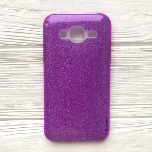 Фиолетовый силиконовый (TPU+PC) чехол (накладка) Shine с блестками для Samsung J500 Galaxy J5 (2015) (Violet)