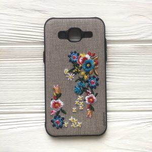 """Серый силиконовый (TPU+PC) чехол (накладка) """"Вышиванка"""" с цветами для Samsung J500 Galaxy J5"""