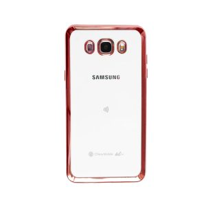 Прозрачный силиконовый (TPU) чехол (накладка) с глянцевым ободком для Samsung J510 Galaxy J5 (2016) (Pink)