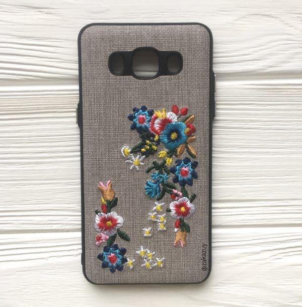 Серый силиконовый (TPU+PC) чехол (накладка) «Вышиванка» с цветами для Samsung J510 Galaxy J5 (2016)