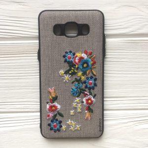 """Силиконовый (TPU+PC) чехол (накладка) """"Вышиванка"""" с цветами для Samsung J510 Galaxy J5 (2016)"""
