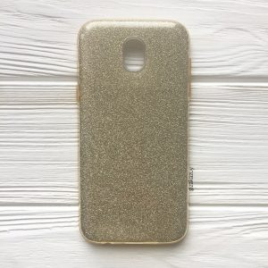 Cветло-золотой силиконовый (TPU+PC) чехол (накладка) Shine с блестками для Samsung J530 Galaxy J5 (2017)