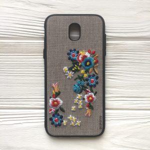 Серый силиконовый (TPU+PC) чехол (накладка) «Вышиванка» с цветами для Samsung J530 Galaxy J5 (2017)