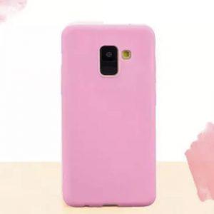 Матовый силиконовый TPU чехол на Samsung J600 Galaxy J6 (Розовый)