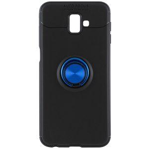 Синий силиконовый (TPU) чехол (бампер) ColorRing c кольцом и креплением под магнитный держатель для Samsung J610 Galaxy J6 Plus (Blue)