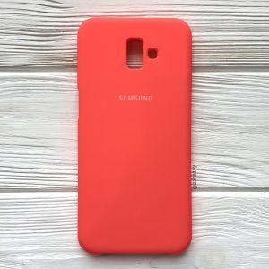 Кораловый оригинальный матовый силиконовый (TPU) чехол Silicone Cover с микрофиброй для Samsung J610 Galaxy J6 Plus (2018) (Coral)