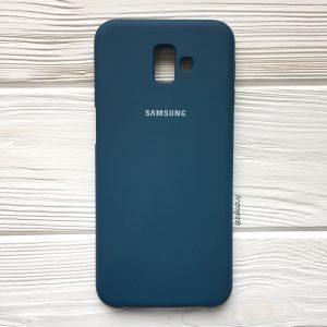 Изумрудный оригинальный матовый силиконовый (TPU) чехол Silicone Cover с микрофиброй для Samsung J610 Galaxy J6 Plus (2018) (Dark Green)