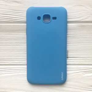 Матовый силиконовый TPU чехол на Samsung J700 / J701 Galaxy J7 (2015) / J7 Neo (Голубой)