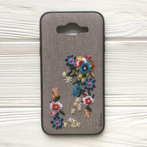 """Серый силиконовый (TPU+PC) чехол (накладка) """"Вышиванка"""" с цветами для Samsung J700 / J701 Galaxy J7 (2015) / J7 Neo"""