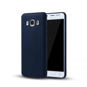 Синий матовый cиликоновый чехол (накладка) для Samsung J710 Galaxy J7 (2016) (Navy Blue)