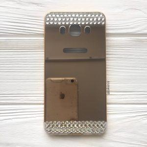 Алюминиевый чехол (накладка) с акриловой вставкой и зеркальным покрытием со стразами для Samsung J510 Galaxy J5 (2016) (Gold)